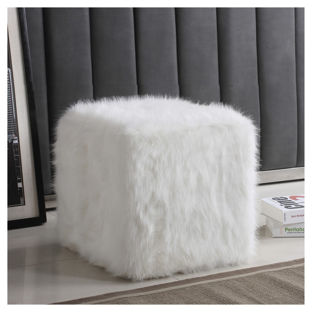 Faux Fur Pouf - White - HomePop was $99.99 now $74.99 (25.0% off)