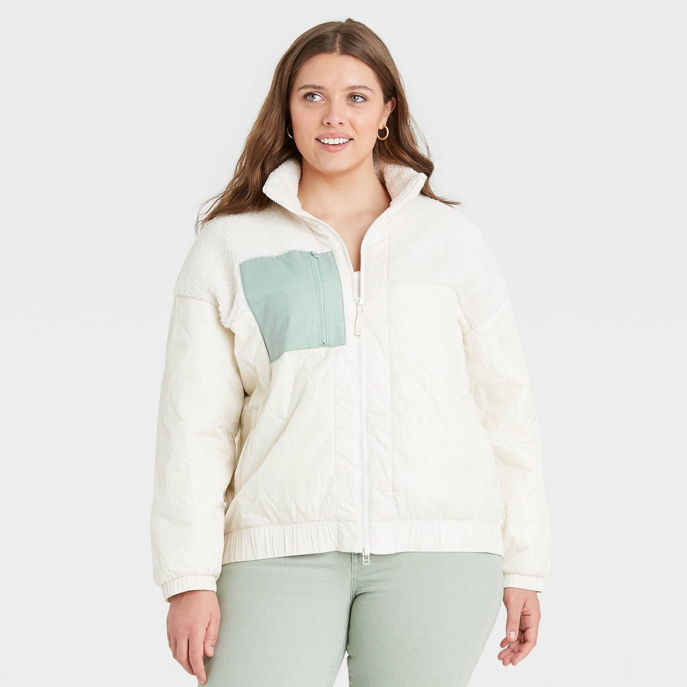 Women 39 S Plus Size Sherpa Jacket Universal Thread 8482 Cream 4x