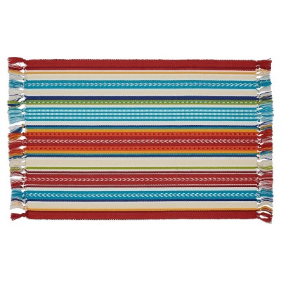 6pk Red Stripe Fringed Placemat 13 x19  - Design Imports