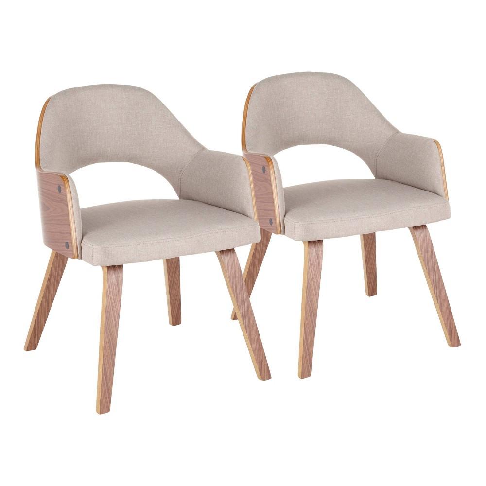 Set of 2 Rollo Mid Century Modern Dining Chair Walnut/Beige - LumiSource