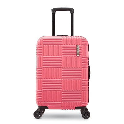 """American Tourister 20"""" Checkered Hardside Carry On Spinner Suitcase - Flamingo"""