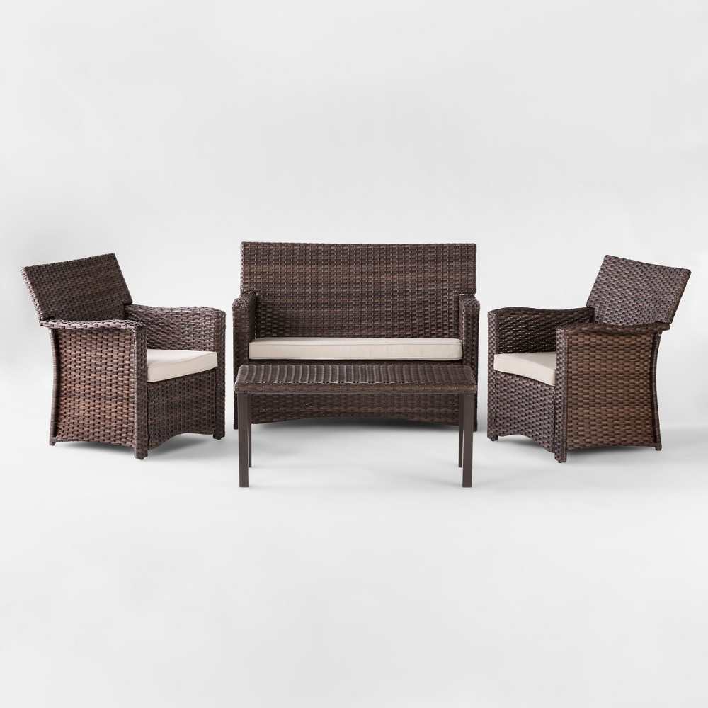 Halsted 4pc All Weather Wicker Patio Conversation Set - Tan - Threshold was $1200.0 now $600.0 (50.0% off)