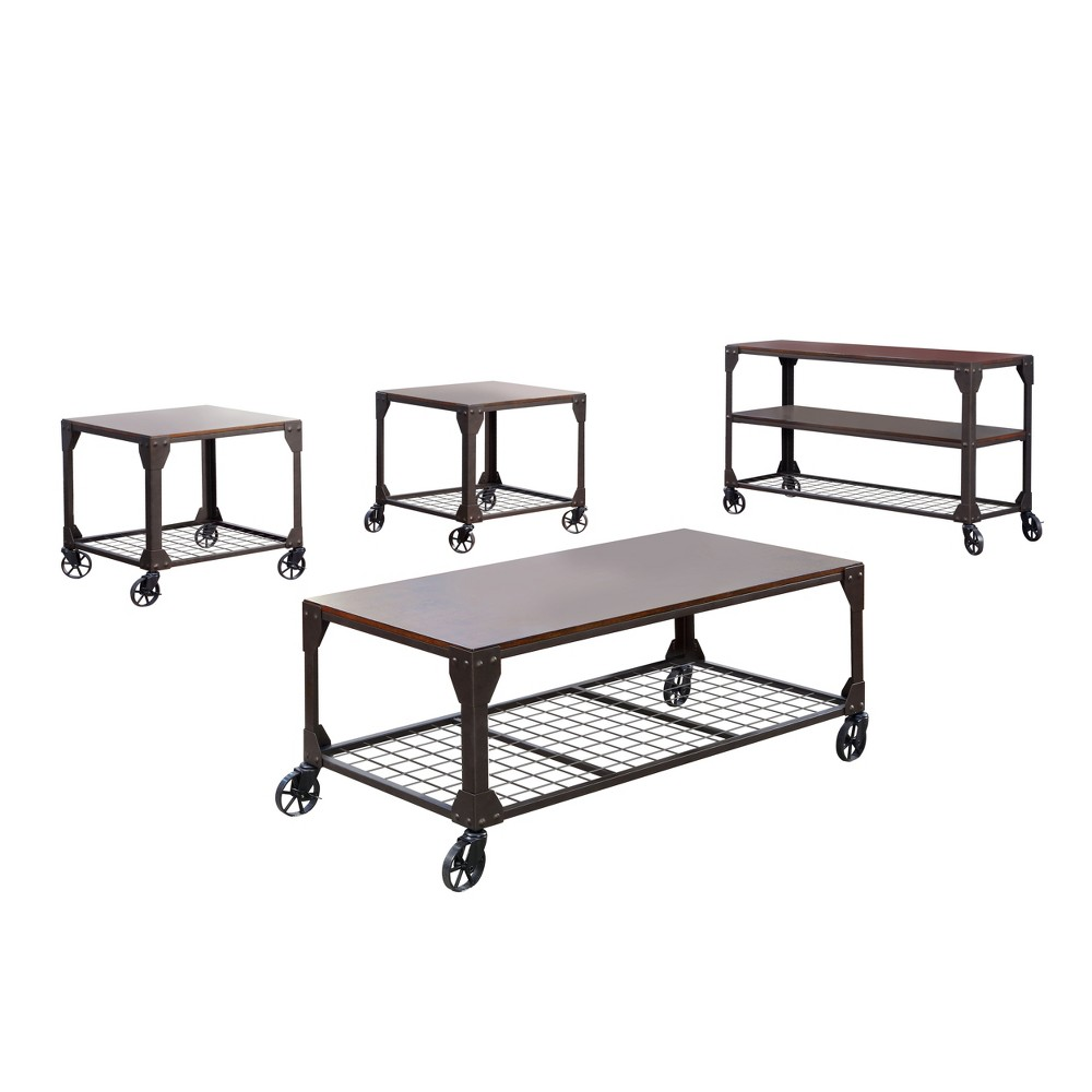 Sun & Pine Gregor 4pc Industrial Table Set Black, Brown