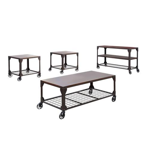 Sun & Pine Gregor 4pc Industrial Table Set Black - image 1 of 4