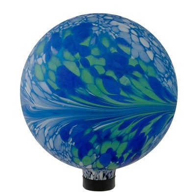 "Northlight 10"" Blue, White and Green Swirl Designed Outdoor Patio Garden Gazing Ball"