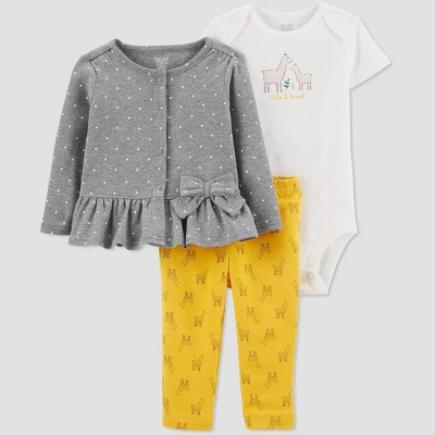 Baby Girls' 3pc Llama Top & Bottom Set - Just One You® made by carter's 3M Yellow