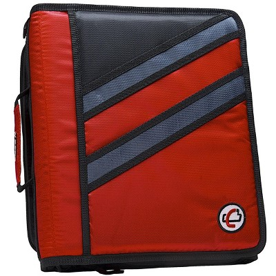 Case-it Z-Design Zippered Binder with Tab File, D-Ring, 1-1/2 Inches, Red