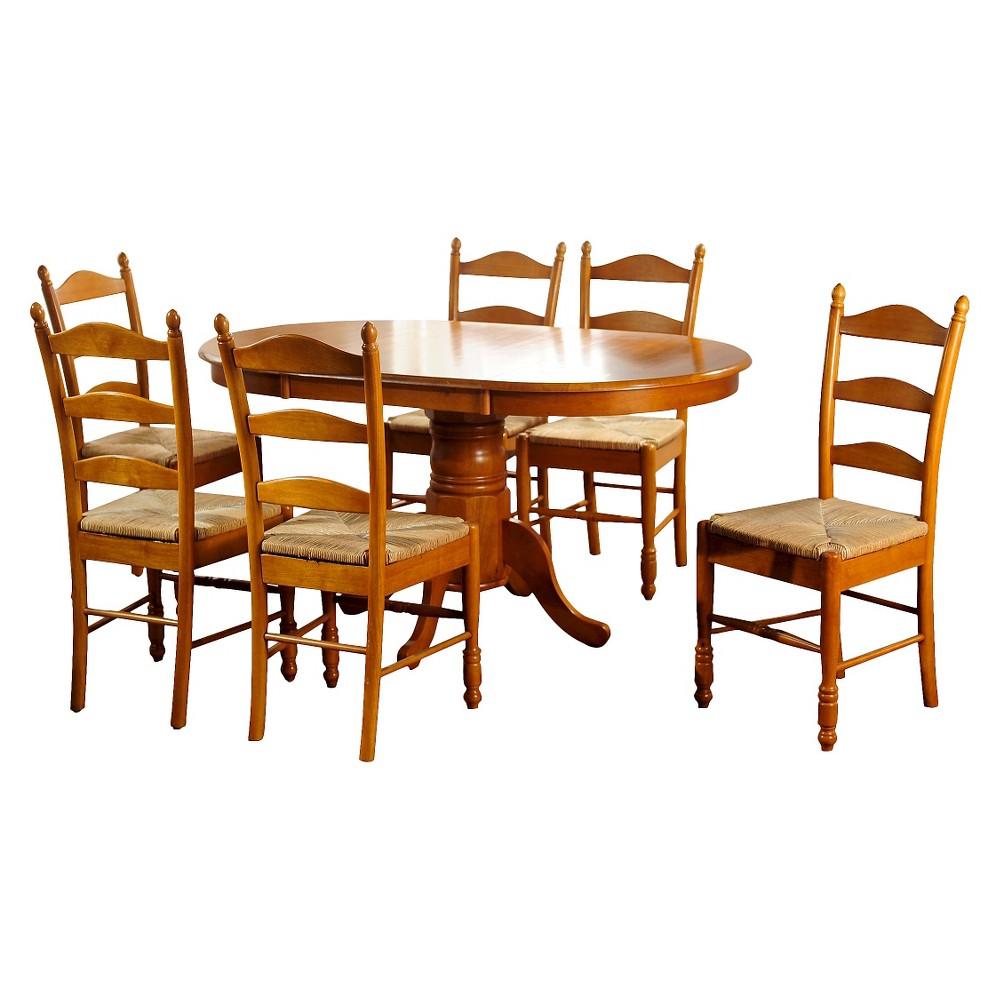 Farmhouse Ladder Back Dining Table Set Wood/Oak (7 Piece Set) - Tms, Brown