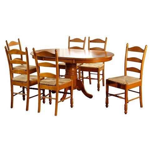 Farmhouse Ladder Back Dining Table Set Wood/Oak (7 Piece Set) - TMS - image 1 of 2