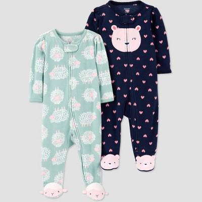 Baby Girls' 2pk Bear & Sheep Sleep N' Play - Just One You® made by carter's Green/Navy Newborn