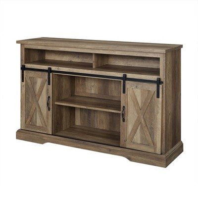 "52"" Sliding Barndoor Modern Farmhouse TV Highboy Storage Stand Rustic Oak - Saracina Home"