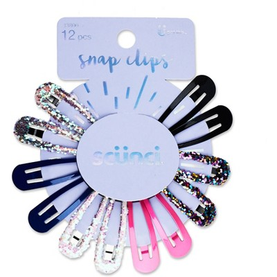 scunci Chunky Glitter & Solid Snap Clips - 12pk