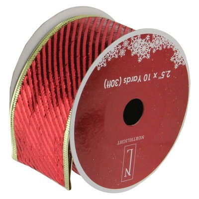 """Northlight Club Pack of 12 Shiny Red and Gold Striped Christmas Craft Ribbon Spools 2.5"""" x 120 Yards"""