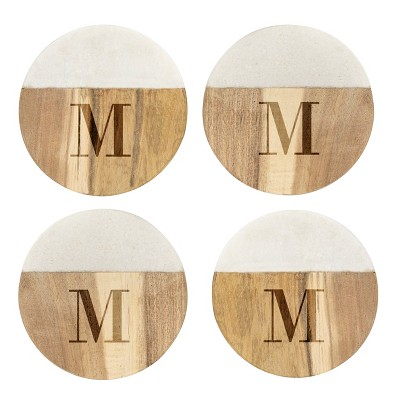 Cathy's Concepts Monogram Acacia and Marble Coasters M - Set of 4