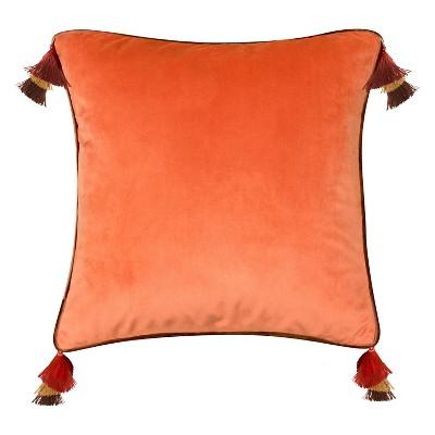 """18""""x18"""" Velvet Reversible Tassel Pillow Orange - Edie@Home"""