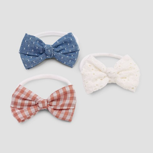 Baby Girls' 3pk Headband with Knotted Bows - Cat & Jack™ Red/Blue Newborn