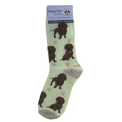 "Novelty Socks 14.0"" Red Daschund Happy Tails Socks Premium Quality E & S Pet  -  Socks"