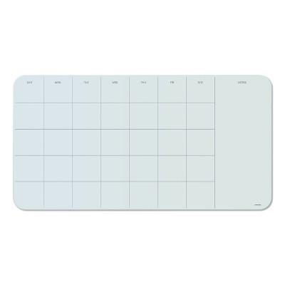 U Brands Cubicle Glass Dry Erase Undated Four Week Calendar Board 23 x 12 White 3687U0001