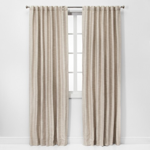 Faux Silk Room Darkening Curtain Panels - Threshold™ - image 1 of 4