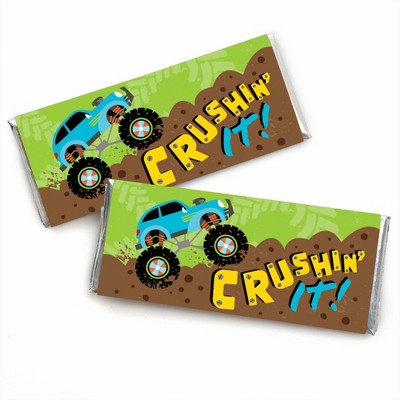 Big Dot of Happiness Smash and Crash - Monster Truck - Candy Bar Wrapper Boy Birthday Party Favors - Set of 24