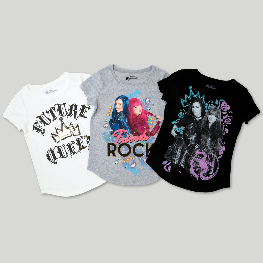 Girls' Disney Descendants 3pk Short Sleeve T-Shirt Set - L, Multicolored