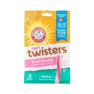Arm & Hammer Twisters Chewy Dog Treats Strawberry Flavor Dog Treats - 8ct