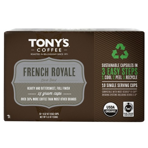 Tony's® Coffee French Royal Dark Roast Coffee - Single Serve Pods - 10ct - image 1 of 1