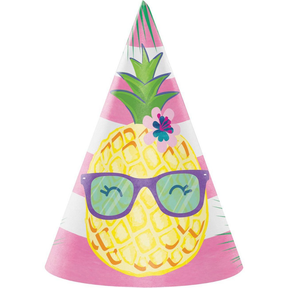 Image of 24ct Pineapple Party Hats, Girl's, Yellow Pink