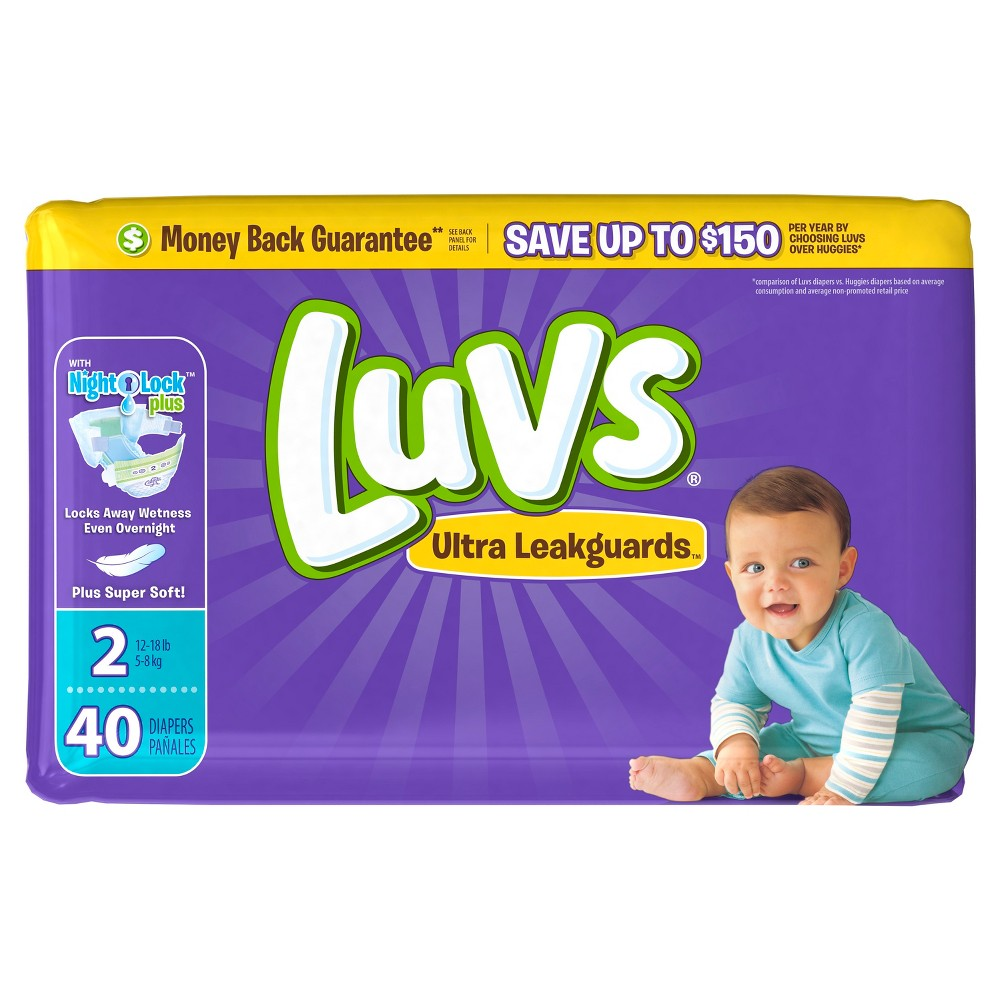 Luvs Disposable Diapers Jumbo Pack - Size 2 (40ct), White