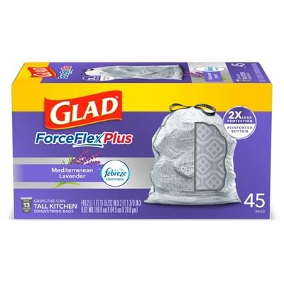 Glad ForceFlexPlus Tall Kitchen Drawstring Trash Bags 13 Gallon - White Febreze Mediterranean Lavender