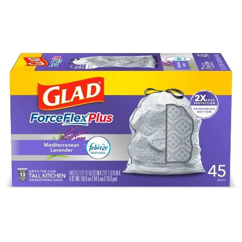 Glad ForceFlexPlus Tall Kitchen Drawstring Trash Bags 13 Gallon - White Febreze Mediterranean Lavender - image 1 of 4