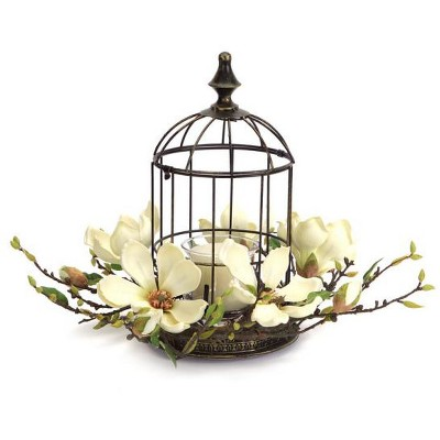 "Melrose 15"" Elegant Magnolia Flower Bird Cage Votive Candle Holder with Glass Globe"