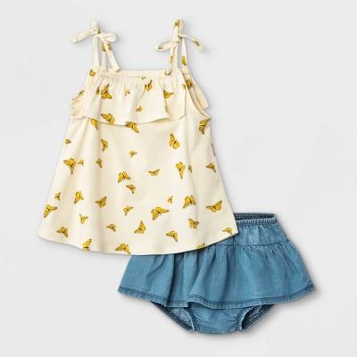 Grayson Mini Baby Girls' 2pc Butterfly Tencel Top & Skirt Set - White 12M
