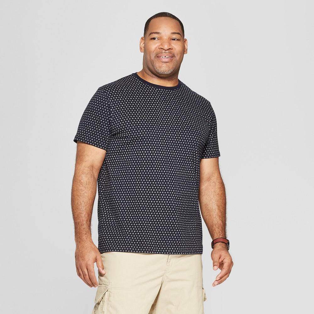 Men's Big & Tall Standard Fit Short Sleeve Novelty Crew T-Shirt - Goodfellow & Co Xavier Navy 5XB