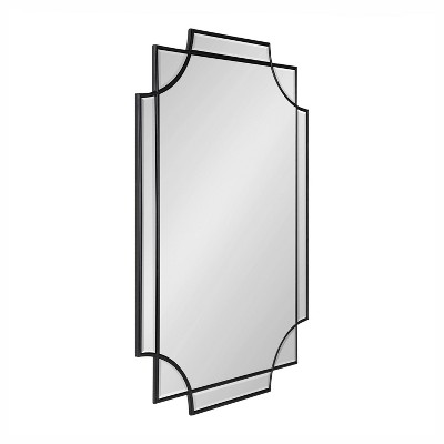 """24"""" x 36"""" Minuette Scallop Wall Mirror Black - Kate & Laurel All Things Decor"""