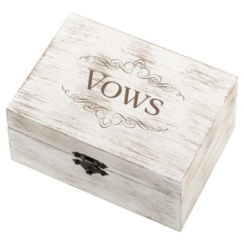 Rustic White Wedding Ring and Vow Box - Vows - image 1 of 2