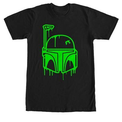Men's Star Wars Halloween Dripping Boba Fett Helmet T-Shirt