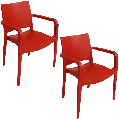 Sunnydaze Plastic All-Weather Commercial-Grade Landon Indoor/Outdoor Patio Dining Arm Chair, Red, 2pk