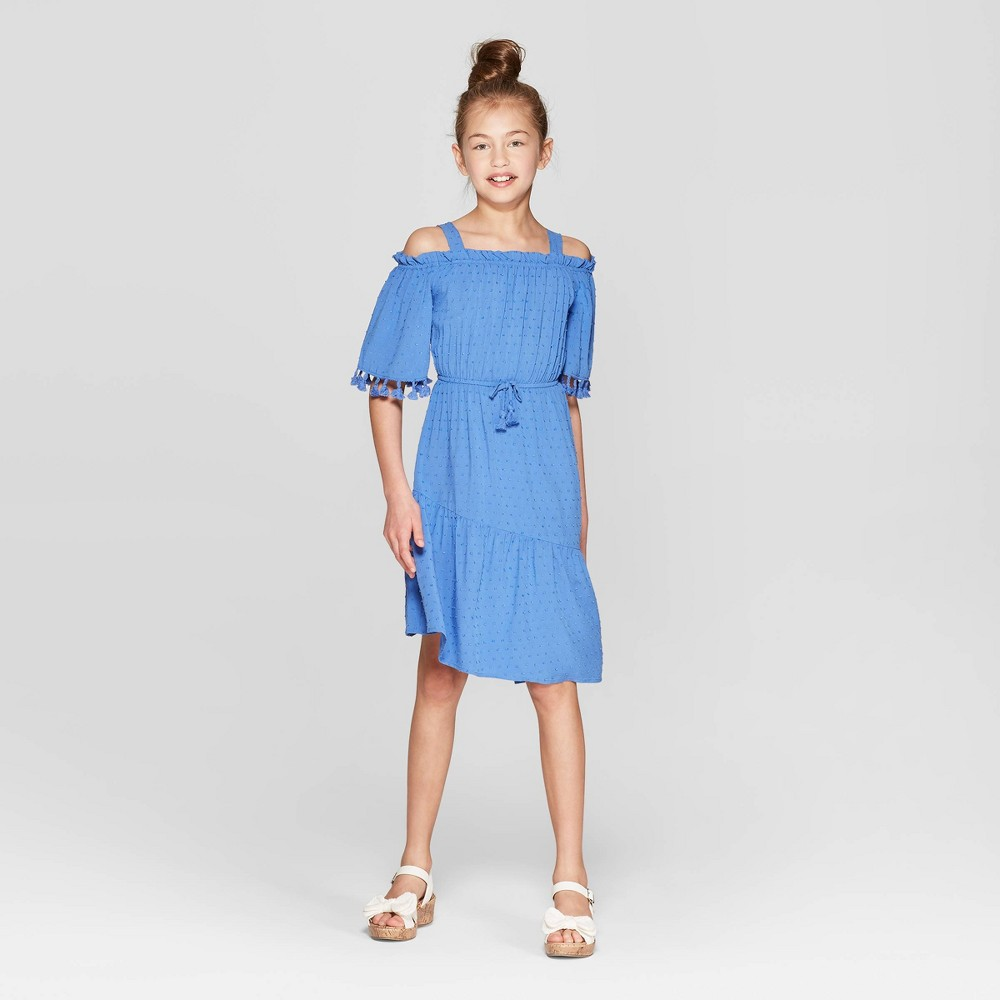 Best Review Girls Cold Shoulder Asymmetrical Dress Art Class Blue XL