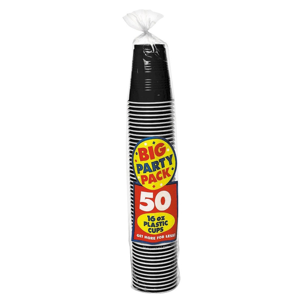 Image of 50ct Black Plastic Cup Party Pack