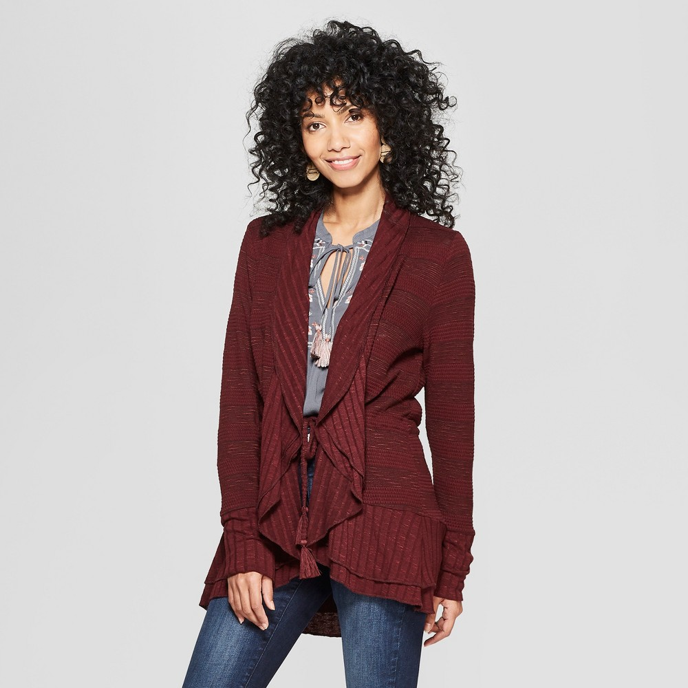 Women's Long Sleeve Open Layering Tassel Cardigan - Knox Rose Burgundy Xxl, Red