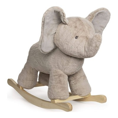 GUND 23 Inch Baby Elephant Plush Stuffed Animal Rocker Kids Toy and Nursery Decoration with Wooden Base for Children Ages 1 Year and Up, Gray