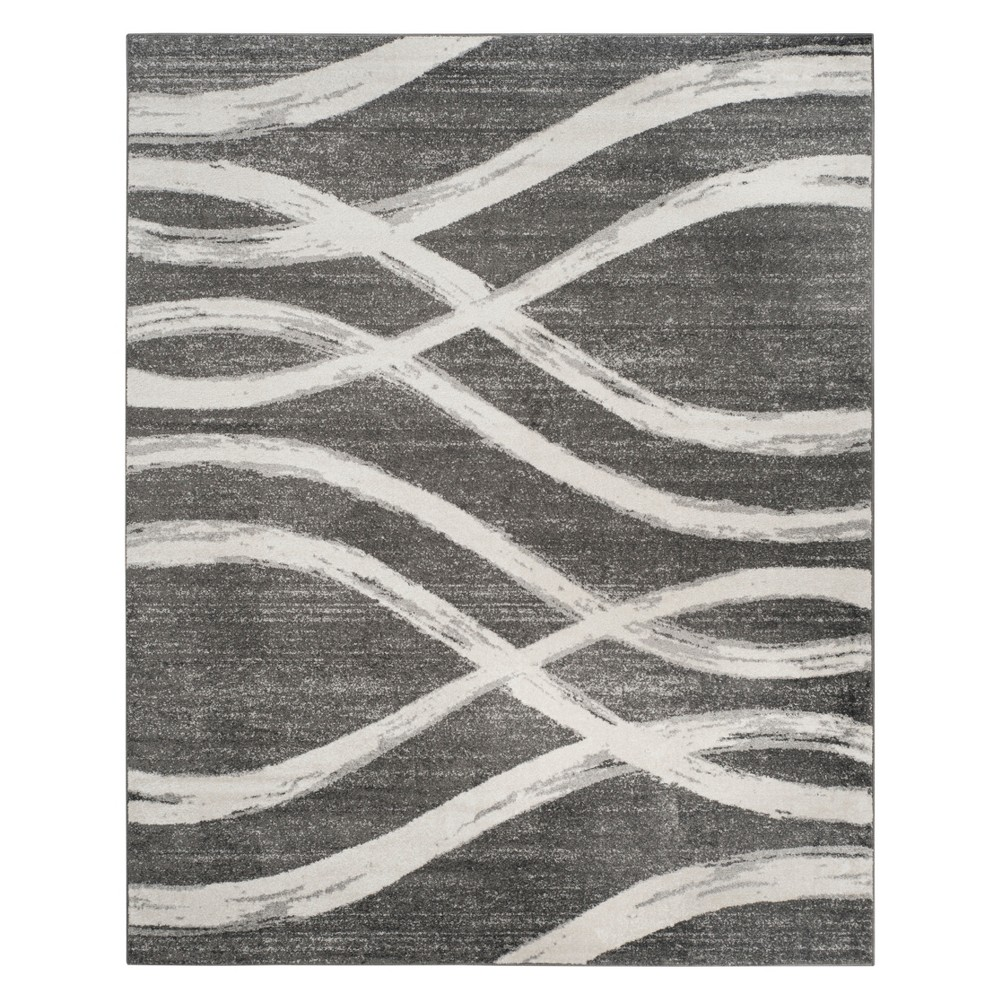 9'X12' Wave Area Rug Charcoal/Ivory - Safavieh, White Gray