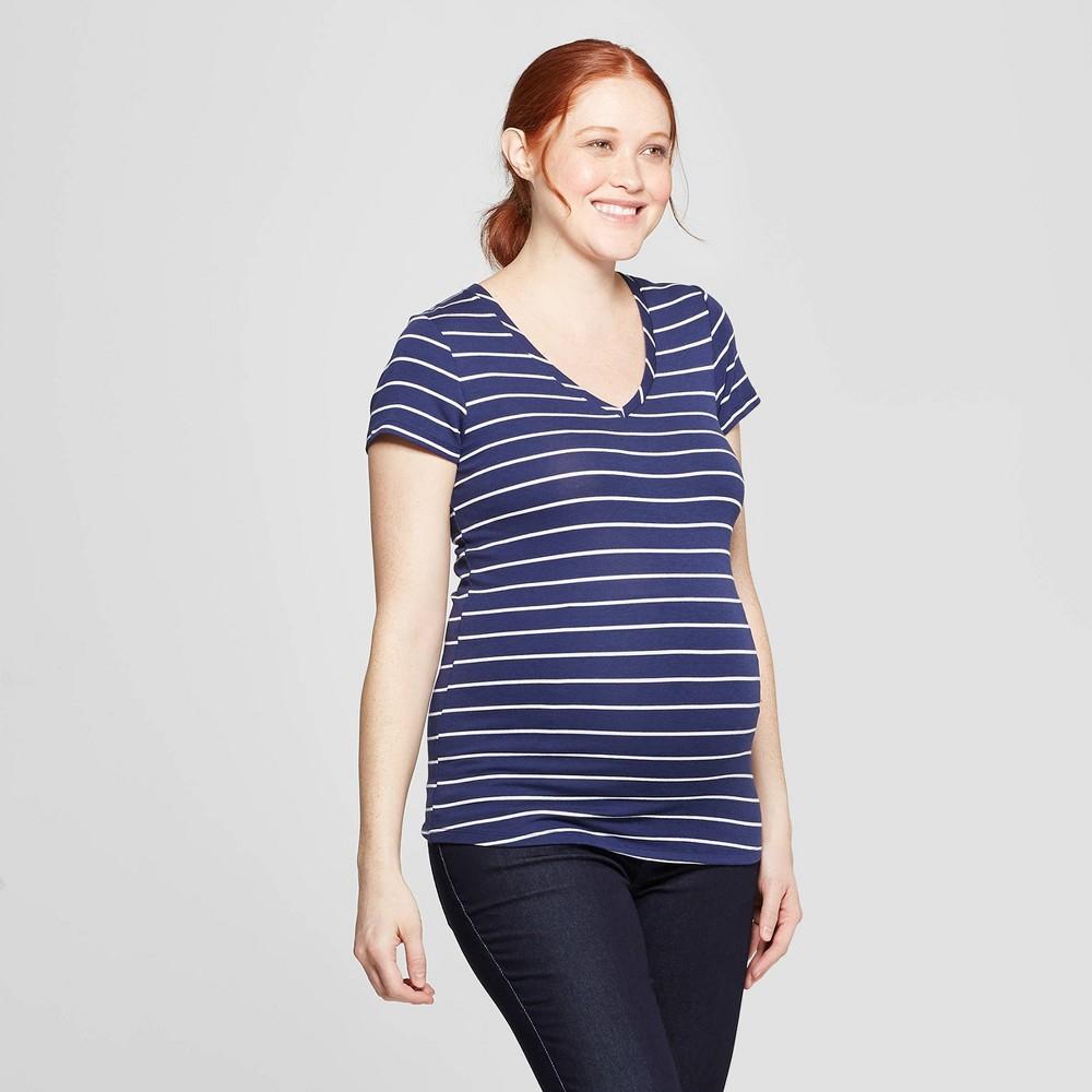 1c9fc8cfa7b46 Maternity Striped Short Sleeve V Neck T Shirt Isabel Maternity by Ingrid  Isabel NavyWhite M Womens Blue