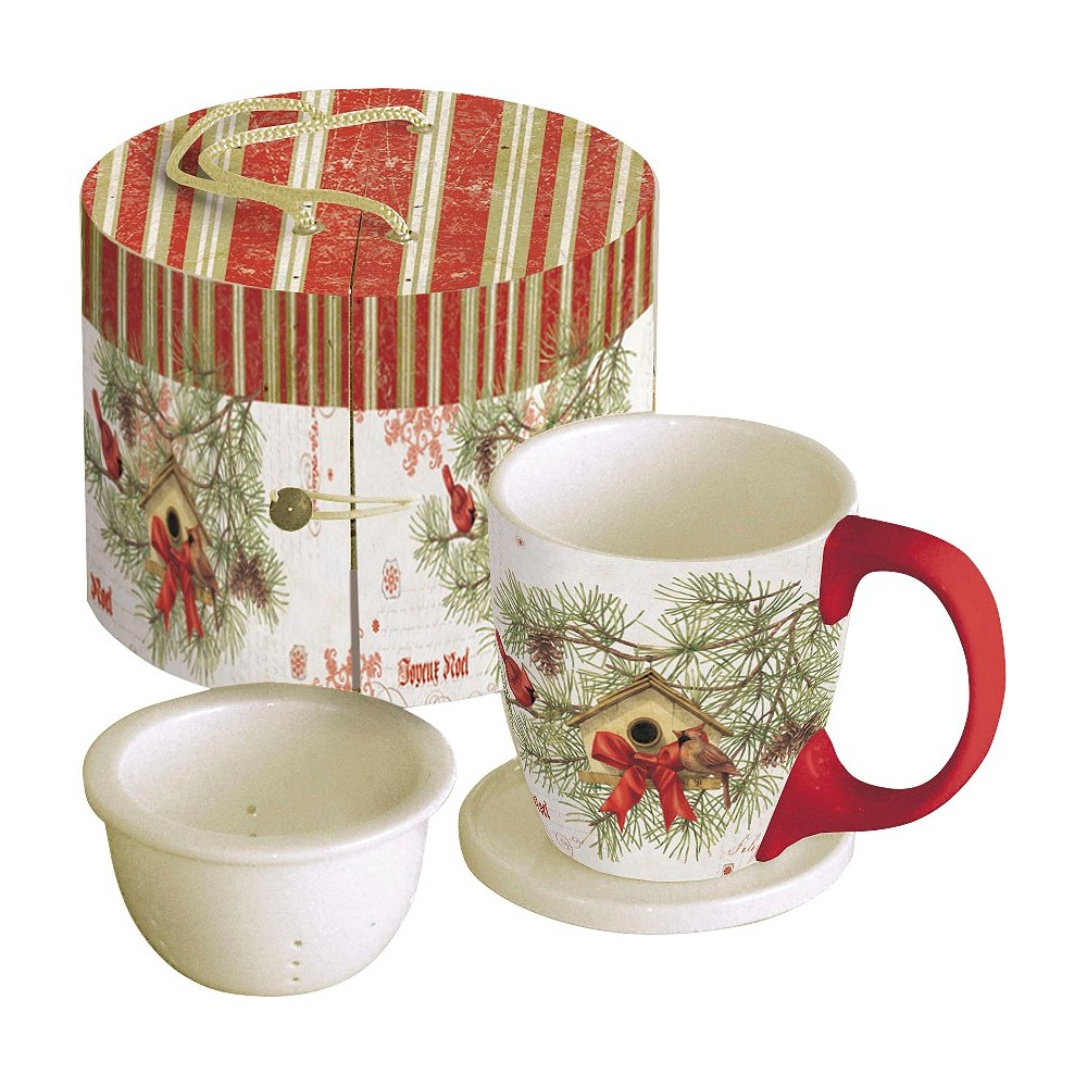 Lang 3pc Ceramic Cardinal In Pines Tea Cup Set 11oz, Multi-Colored
