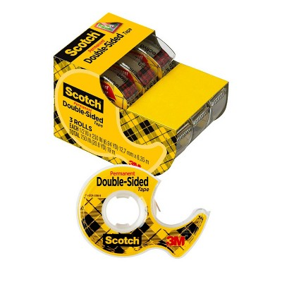 "Scotch 3pk Double Sided Tape 1/2"" x 250"""