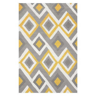 Yellow Solid Hooked Area Rug 4'X6' - nuLOOM