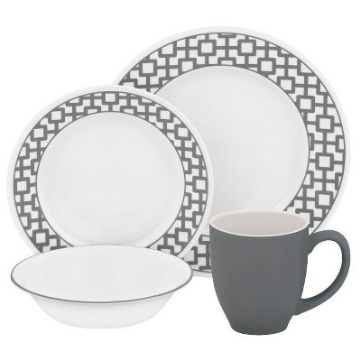 Corelle® Impressions™ Vitrelle and Stoneware16pc Dinnerware Set Urban Grid Gray and White
