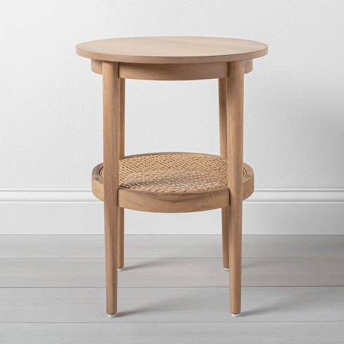 Wood Cane Round Accent Table Hearth, Small Round Side Table With Drawer
