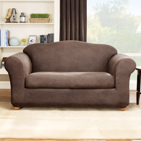 Stretch Leather 2 Piece Sofa Slipcover Sure Fit Target